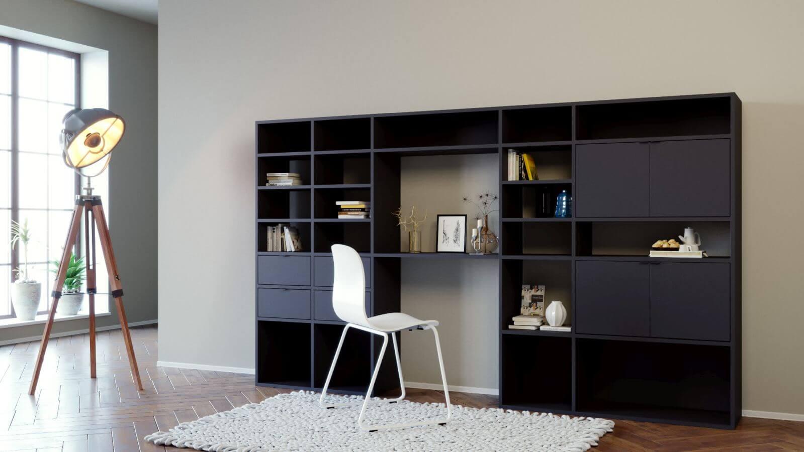 Schwarze wohnwand selbst designen wohnw nde bei mycs - Schwarze wohnwand ...